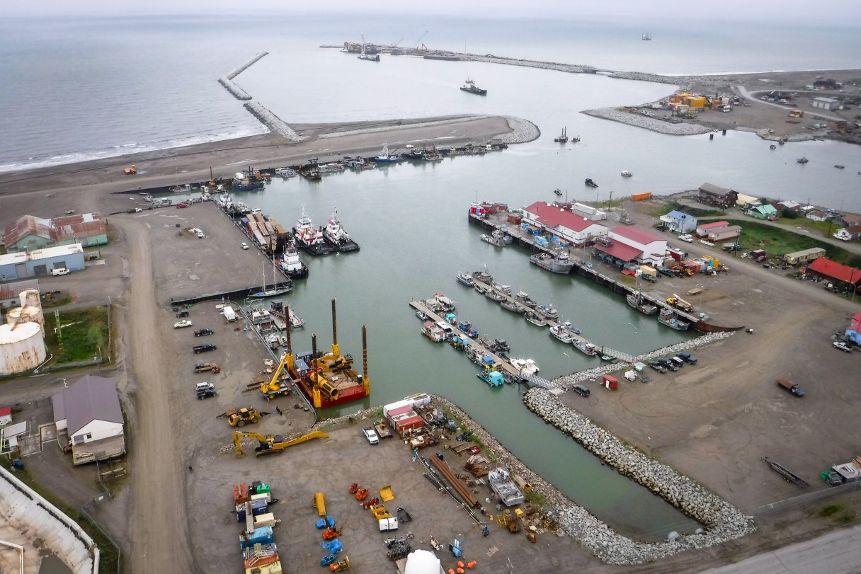 Aerial view of Nome's port.