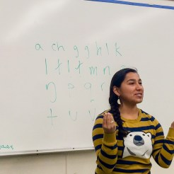 May 2015: Marjorie Tahbone teaches Inupiaq
