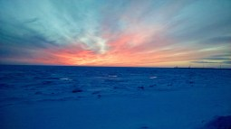 A sea ice sunset. (Photo: Maddie Winchester, KNOM)