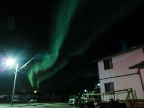 A beautiful aurora seen from outside the KNOM house. (Photo: Maddie Winchester, KNOM)