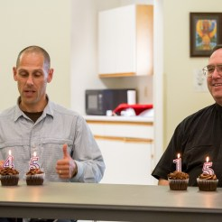 Paul and Fr. Ross with Cupcakes, July 14