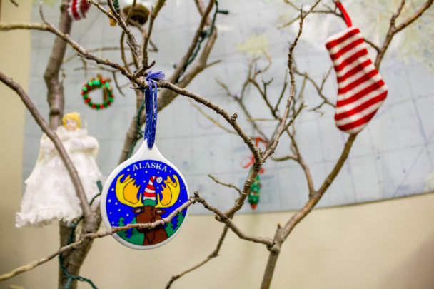 Christmas ornaments on a willow tree inside KNOM's studio lobby.