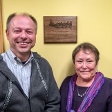 Kevin Fimon, Florence Busch, and studio dedication plaque