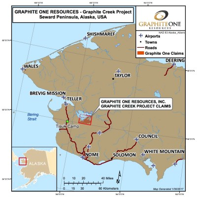 The proposed Graphite Creek mine site that has a net present value of over $1-billion according to the latest assessment. Photo Credit: Graphite One Resources (2017)