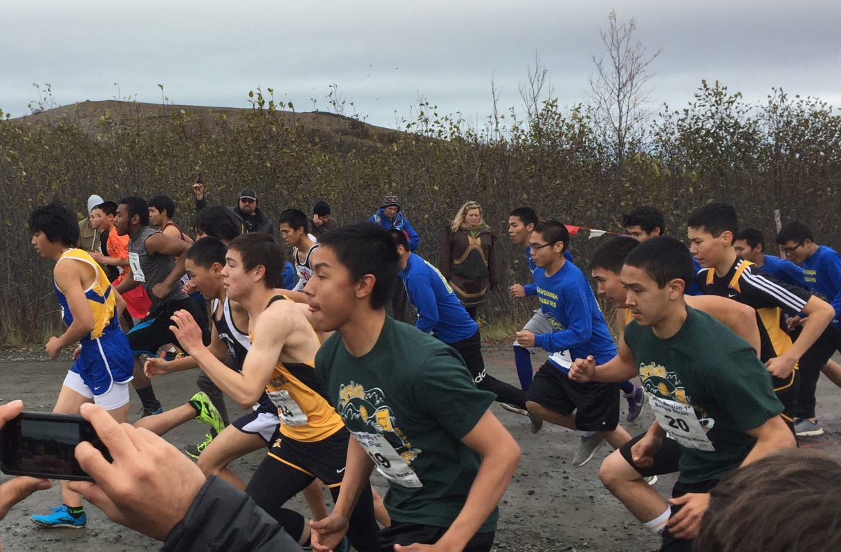 Boys from across Western Alaska took off from the finish line at the Bering Strait School District Cross-Country Championships (Photo courtesy of Brendan Ellis, 2017)