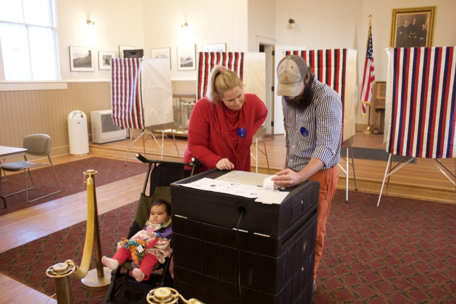 City Clerk Bryant Hammond and Jill Nederhood examine election results. Photo Credit: Gabe Colombo, KNOM (2017)
