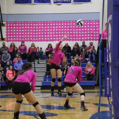 "Pink ""honor balls"" fill the gym walls as Nome-Beltz senior Taeler Brunette spikes the ball in a game Friday (Photo: Janeen Sullivan, used with permission)"