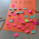 "Brightly colored sticky notes cover a poster labeled ""How to help,"" where they brainstormed ideas for supporting friends going through a hard time."