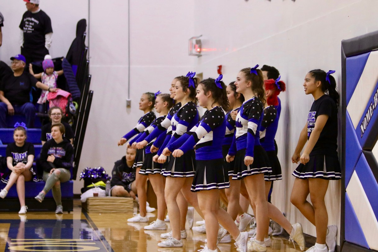 The Nome-Beltz Nanooks cheer teem at a basketball game (Photo: Janeen Sullivan, used with permission)