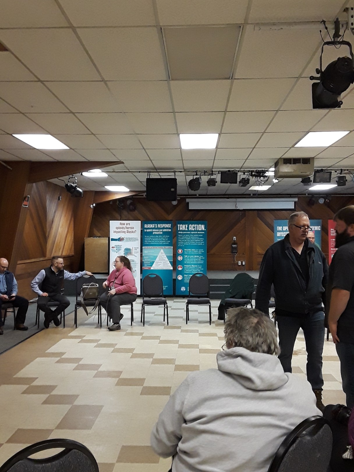 The Office of Substance Misuse and Addiction Prevention hosted a town hall meeting in Nome about the opioid epidemic. Photo Credit: Davis Hovey, KNOM (2018)