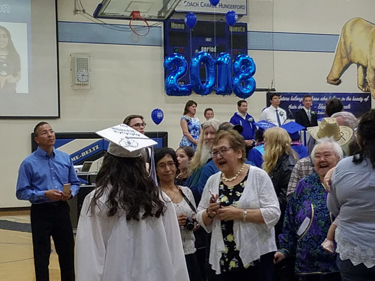 A show of emotion at the 2018 Nome-Beltz High School Graduation Ceremony.