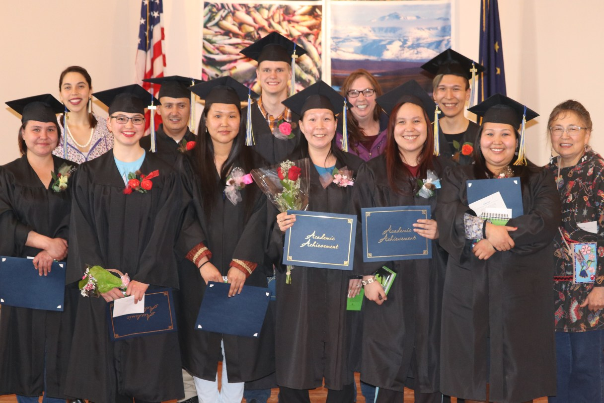 Kawerak's GED program graduates received their diplomas during the 2018 UAF Northwest Campus commencement ceremony. Photo used with permission from Kawerak,Inc. (2018)