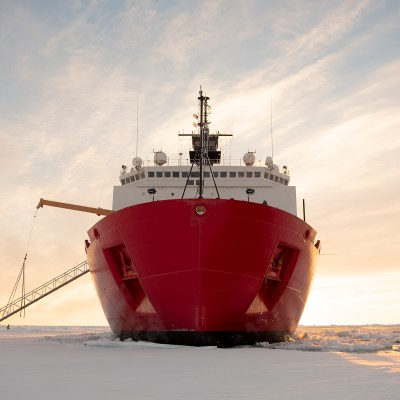 The U.S. Coast Guard Cutter Healy is in the ice Wednesday, Oct. 3, 2018, about 715 miles north of Barrow, Alaska.(NyxoLyno Cangemi/U.S. Coast Guard)