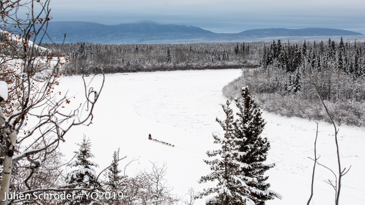 Aerial landscape of a distant sled dog musher on a snowy, frozen river, with forest and mountains in the background.
