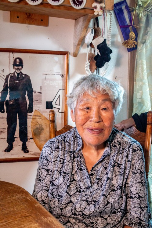 A photo of Shaktoolik elder Hanna Takak taken in her livingroom.