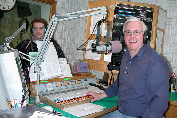 A photo of Andrew McDonnell and Tom Busch in the studio.