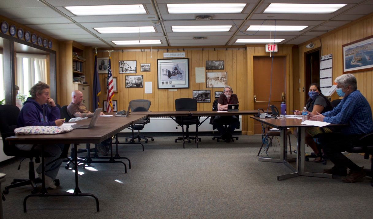 The Nome City Council meets on August 10th, 2020. None of the councilmembers have opted to wear masks at meetings during the COVID-19 pandemic. Photo from Emily Hofstaedter, KNOM 2020