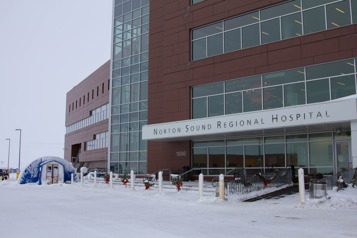 Exterior of Nome hospital in winter time.