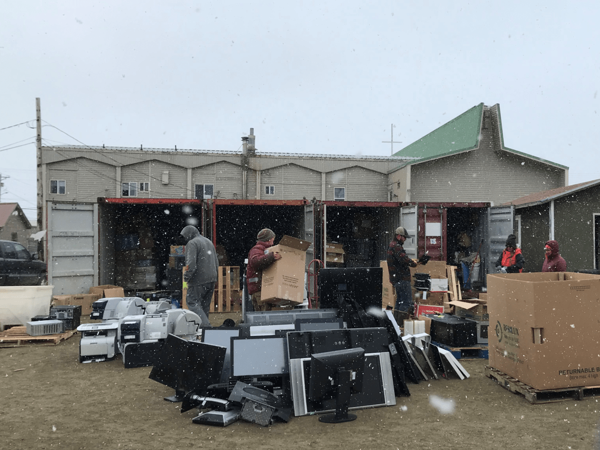 Despite the snowy weather, Kawerak was able to collect over 10,000 pounds of electronics at their e-waste event. Photo courtesy of Kawerak.