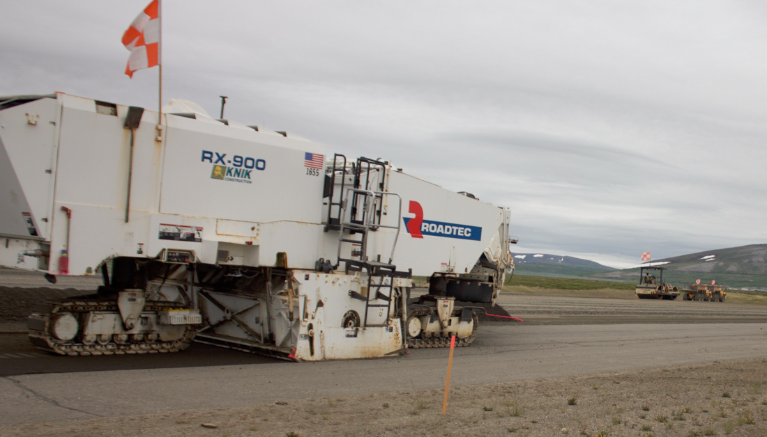 Nome airport runway construction equipment. Photo by Sean Milligan, KNOM. 7-21.
