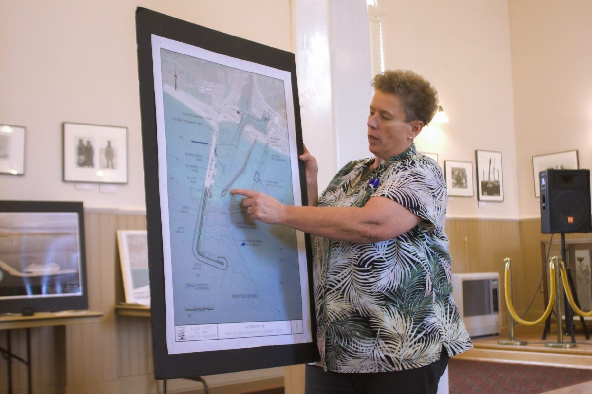 Port Director Joy Baker discussing the Arctic Deep Draft Port Project at an open house in July 2021.