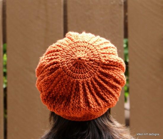 Winter / Fall Seasoned Crochet Orange Phannie / Beret Free Pattern for an adult woman - kNot mY deSigns