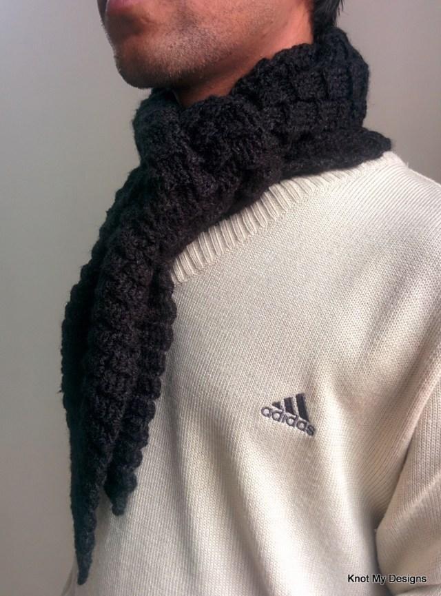 Crochet Winter/Fall Seasoned Black Basketweave Scarf Free Pattern for an adult man - Knot My Designs