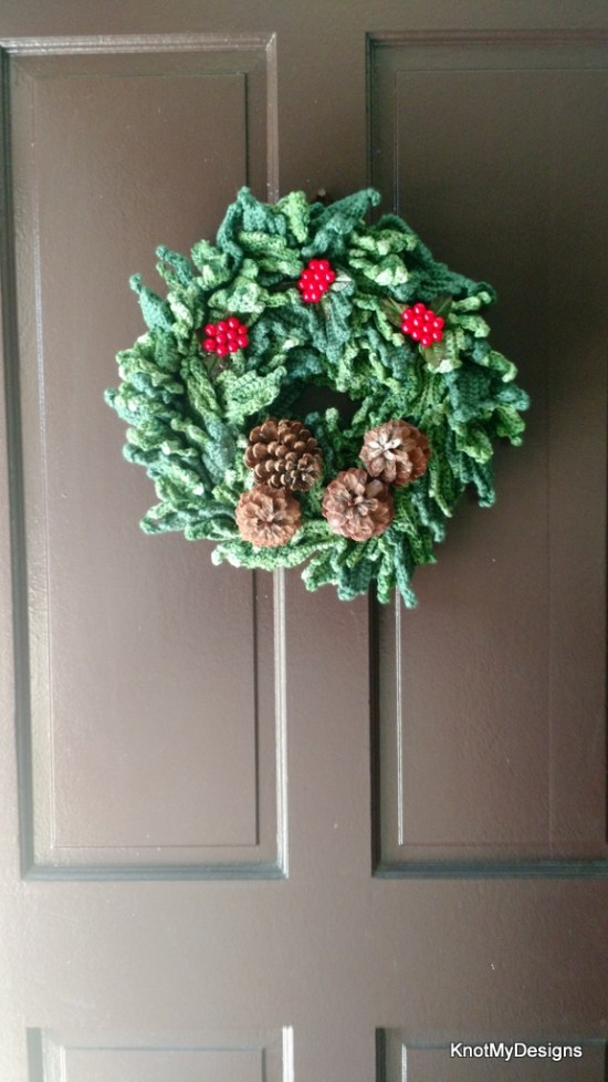 Crochet Home Decor Item -Christmas Wreath Free Pattern - Knot My Designs