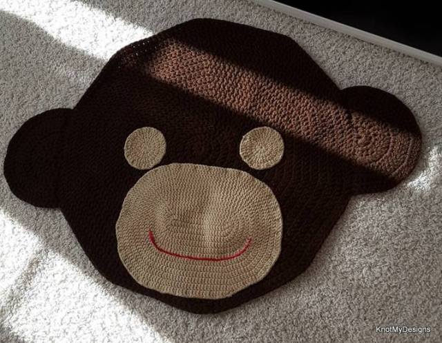 Crochet Curious Monkey Rug with Non-Slippery base Free Pattern for your Children's Room - Knot My Designs