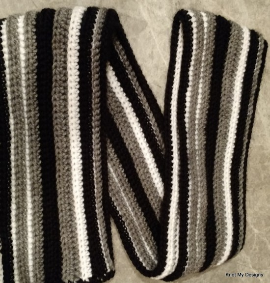 Crochet Winter/Fall Season Black+Grey+White MIxed Irregular Striped Scarf Free Pattern for an adult man - Knot My Designs