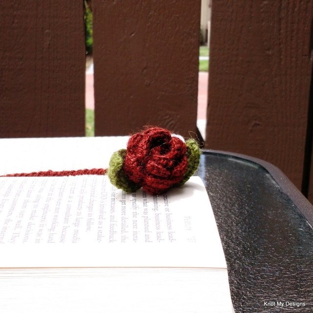 Crochet Dark Rose Flower and Leaf Bookmark Pattern Nature Captured in Books Gallery for Bookworm/good reads/book lovers using left over yarn. Best out of Waste.