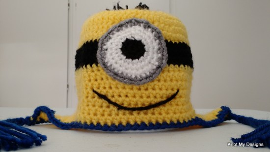 Crochet Minion Theme Earflap Hat Pattern for toddler - Knot My Designs