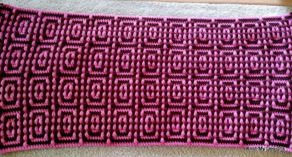 Crochet Free Pattern Pink+Brown color Rectangular Mosaic Rug as Home Decor for your home - Knot My Designs