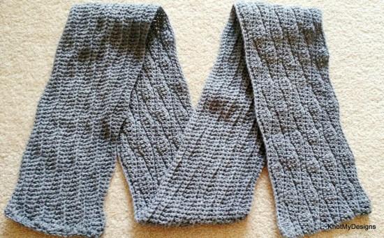 Crochet Fall/Winter Seasoned Men's Wavy Scarf Free Pattern - Knot My Designs