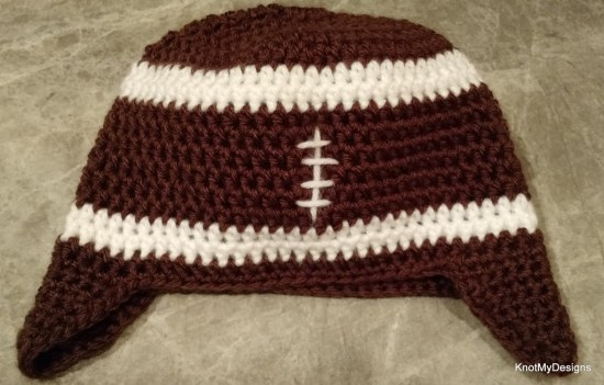 Crochet Football Flap Beanie for Toddler Free Pattern - Knot My Designs