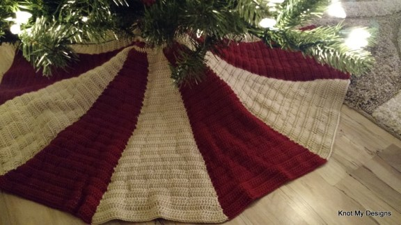 Crochet Christmas Tree Skirt Free Pattern with Peppermint Candy Style - Knot My Designs