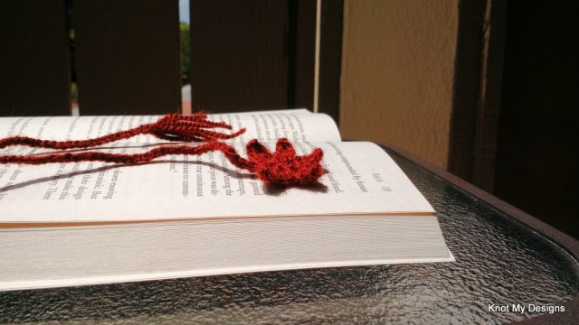 Crochet Maple Leaf Bookmark Free Pattern for Bookworm Nature Captured in Books Gallery - Knot My Designs