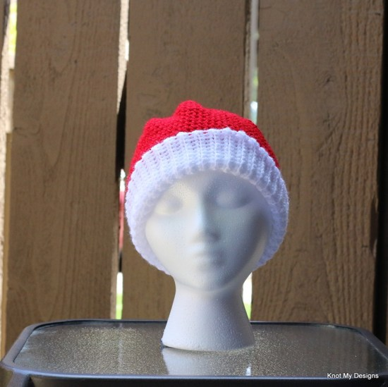 Crochet Cherry Wherry Slouch Santa Hat Free Pattern for an adult woman for Christmas - kNot mY deSigns