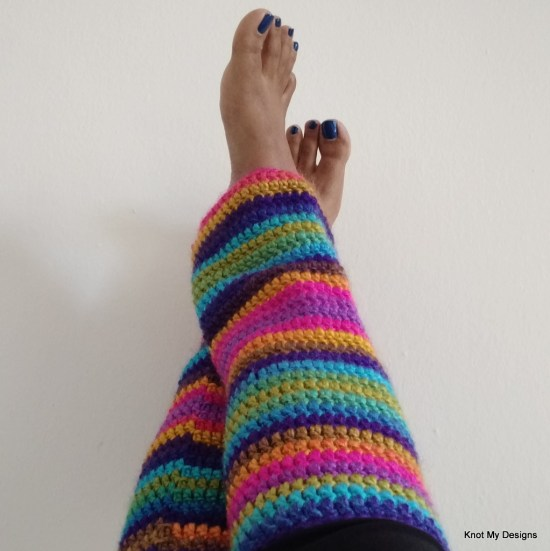 Simple Winter/Fall Seasoned Crochet Rainbow Shaded Leg warmer Free Pattern for an adult woman - Knot My Designs