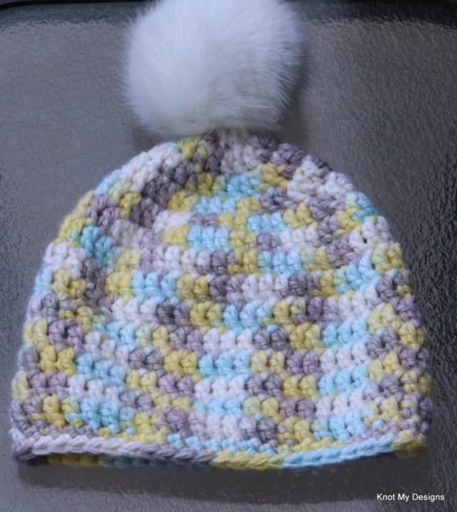 Winter/Fall Seasoned Crochet Fauxy Fur Pom Pom Hat for an adult woman - kNot mY deSigns