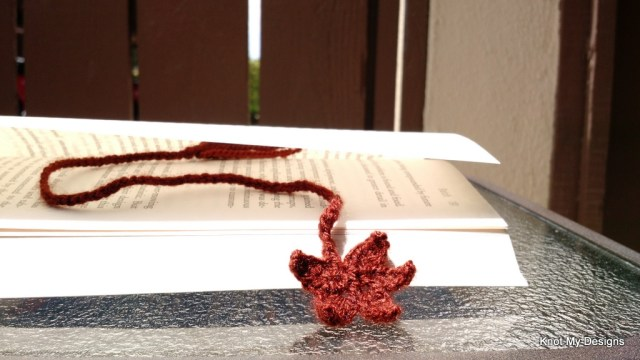 Crochet Maple Leaf Bookmark Free Pattern for Bookworm - Knot My Designs