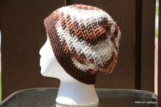 Winter/Fall Seasoned Crochet Mix-Match Slouchy Beanie free pattern for an adult woman - kNot mY deSigns
