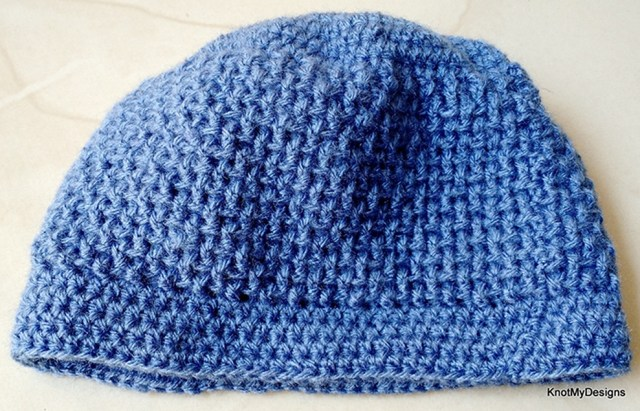 Crochet Meshdenim Beanie Free Pattern for a child - Knot My Designs