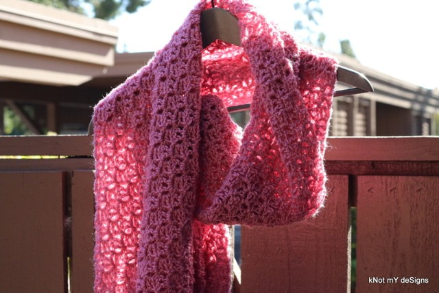 Winter/Fall/Spring Seasoned Crochet Rose Bloom Stole Free Pattern for an adult woman - kNot mY deSigns