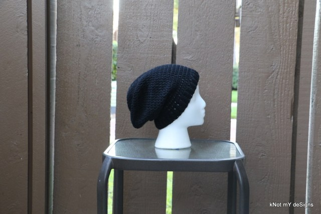 Fall/Spring Season Crochet Black Slouch Beanie Free Pattern for an adult woman - Knot My Designs