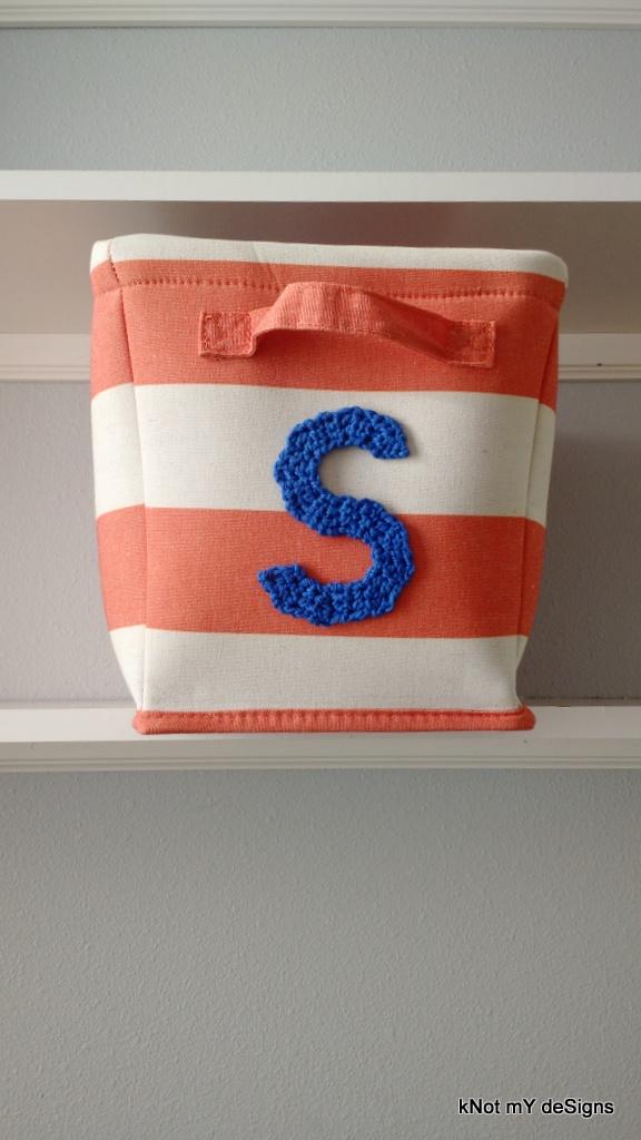 "Crochet Naming Alphabet ""S"" Applique on Basket for Home Decor - Knot My Designs"