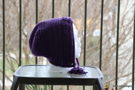 Winter / Fall Seasoned Crochet Tasseled Slouchy Bonnet Hat Free Pattern for an adult woman - kNot mY deSigns