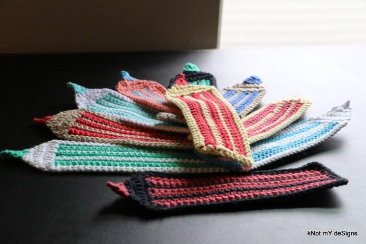 Crochet Striped Pencil Bookmark - Knot My Designs