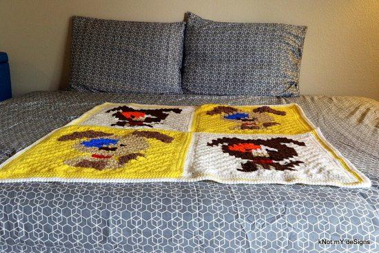 Crochet C2C Woof Woof Baby Blanket - Knot My Designs