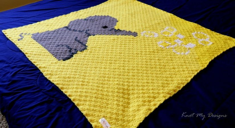 Elephant Blowing Bubbles Graphghan | KNOT MY DESIGNS